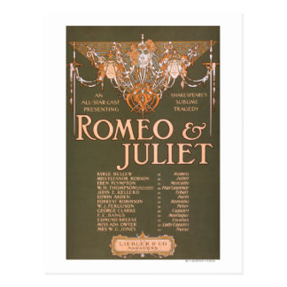 "Shakepeare's Sublime Tragedy ""Romeo & Juliet"" Postcard"