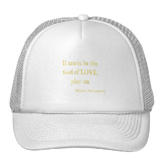 Shakespeare Food of Love Quote Faux Glitter Cap