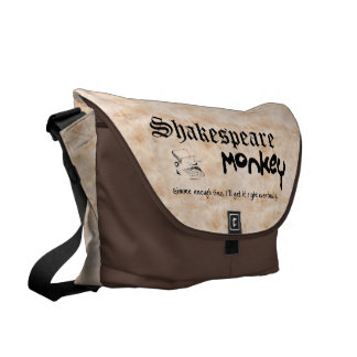 Shakespeare Monkey Large Messenger Bag