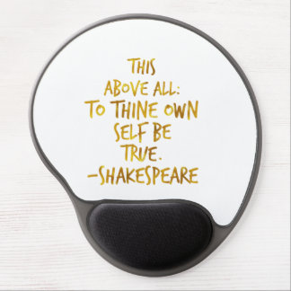 Shakespeare Motivational Quote Gold Faux Foil Gel Mouse Pad