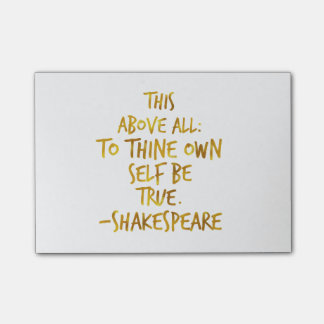 Shakespeare Motivational Quote Gold Faux Foil Post-it Notes