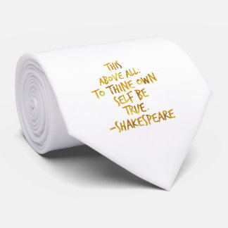 Shakespeare Motivational Quote Gold Faux Foil Tie