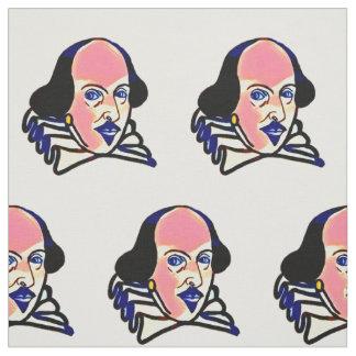 Shakespeare portrait fabric - white background