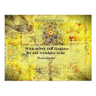 Shakespeare quote about happiness and laughter postcard