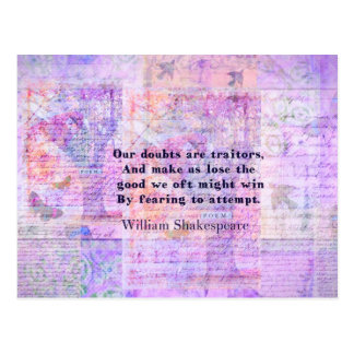 Shakespeare quote COURAGE FEAR with art Postcard