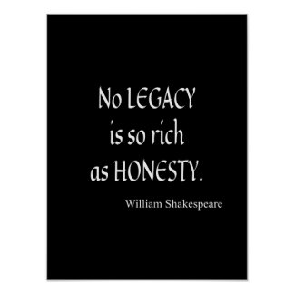 Shakespeare Quote No Legacy So Rich as Honesty Poster