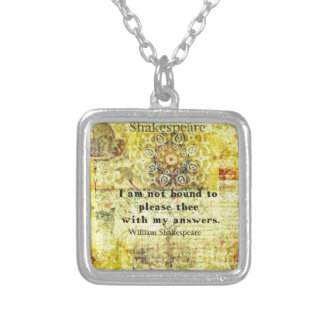 Shakespeare Quote Square Pendant Necklace