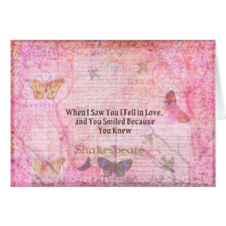 Shakespeare Romantic Love quote art typography Card
