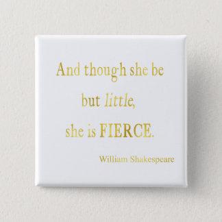 Shakespeare She Be Little Fierce Faux Glitter 15 Cm Square Badge