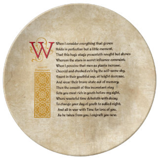 Shakespeare Sonnet 15 (XV) on Parchment Plate