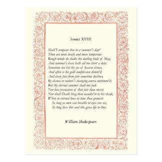 Shakespeare Sonnet # 18 Post Card