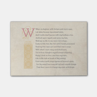 Shakespeare Sonnet 29 (XXIX) on Parchment Post-it Notes