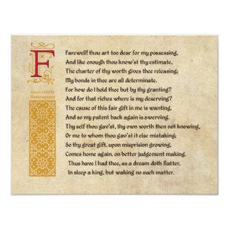 Shakespeare Sonnet 87 (LXXXVII) on Parchment Card