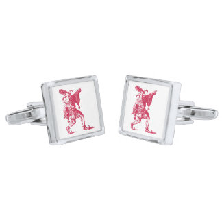 Shakespearean Jester Silver Finish Cufflinks