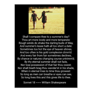 Shakespeare's Sonnet 18 - Art Print