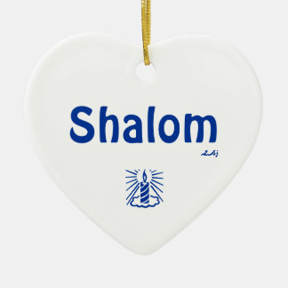 Shalom and Light Heart Ornament Blue on White