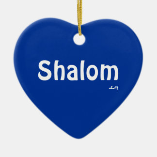 Shalom and Light on Blue Heart Ornament