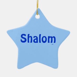 Shalom Blue on Blue Star Ornament