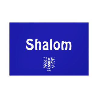 Shalom Blue Wrapped Canvas Stretched Canvas Print