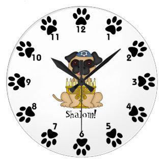 Shalom!-Cute Pug dog with Menorah Large Clock
