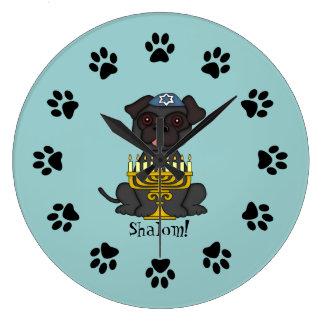 Shalom!-Cute Pug dog with Menorah/Soft Blue Large Clock