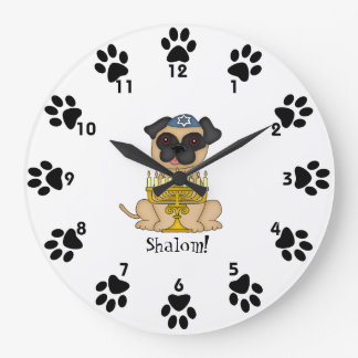 Shalom!-Cute Pug dog with Menorah Wall Clock