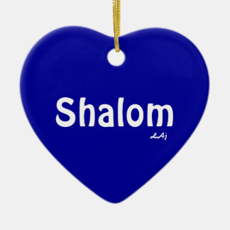 Shalom Heart Ornament White on Blue