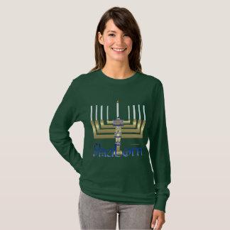Shalom Menorah Ladies Long Sleeve Shirt