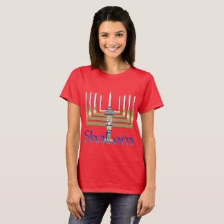 Shalom Menorah Ladies T-Shirt
