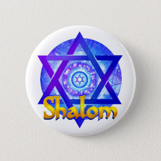 SHALOM with Star of David Medallion 6 Cm Round Badge