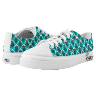Shamanic Sea Turtles Pattern - cyan Low Tops