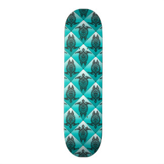 Shamanic Sea Turtles Pattern - cyan Skate Board Deck