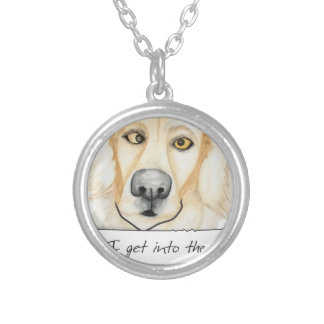 Shaming the Dog Golden Retriever Round Pendant Necklace