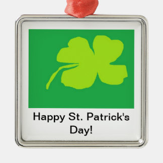 Shamrock '11, Happy St. Patrick's Day! Silver-Colored Square Decoration