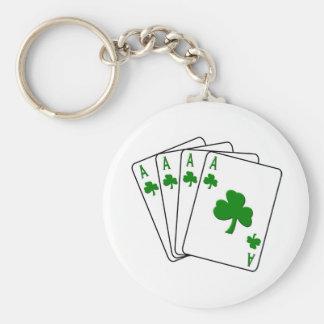Shamrock Aces Basic Round Button Key Ring