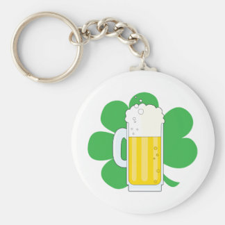 Shamrock and Beer Basic Round Button Key Ring