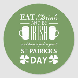 Shamrock and Beer Irish St Patrick's Day Classic Round Sticker