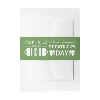Shamrock and Beer Irish St Patrick's Day Invitation Belly Band