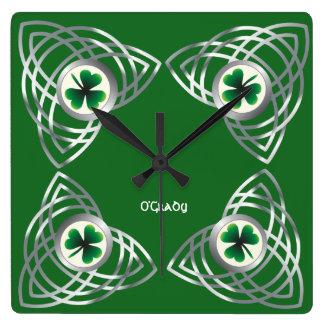 Shamrock and Celtic knot Wall Clocks