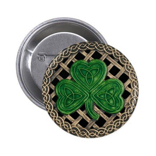 Shamrock And Celtic Knots Button Black