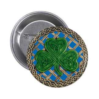 Shamrock And Celtic Knots Button Blue