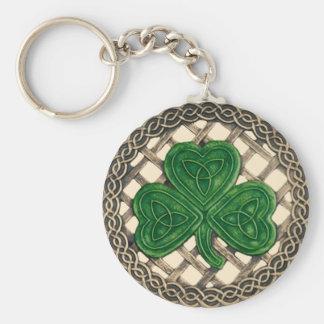 Shamrock And Celtic Knots Keychain Beige