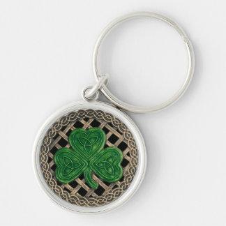 Shamrock And Celtic Knots Keychain Black