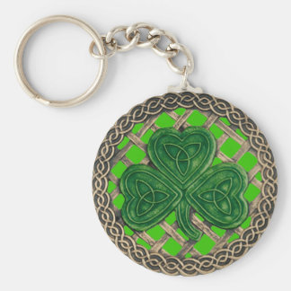 Shamrock And Celtic Knots Keychain Green