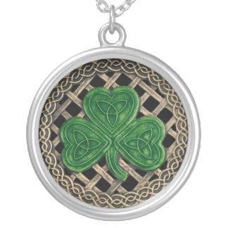Shamrock And Celtic Knots Necklace Black