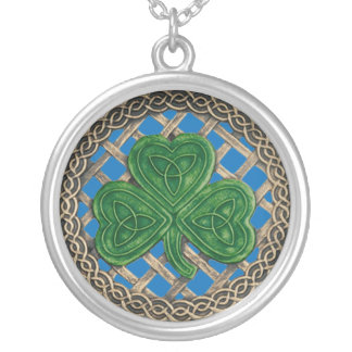 Shamrock And Celtic Knots Necklace Blue