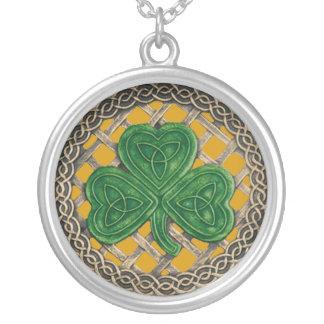 Shamrock And Celtic Knots Necklace Gold