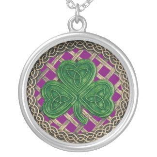 Shamrock And Celtic Knots Necklace Purple