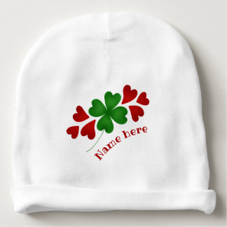 Shamrock and hearts baby beanie