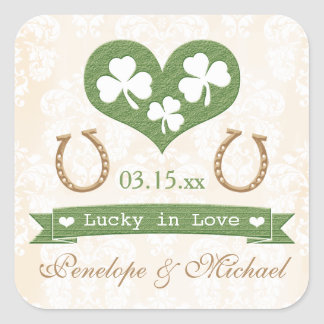 Shamrock and Horseshoe Lucky in Love Wedding Square Sticker